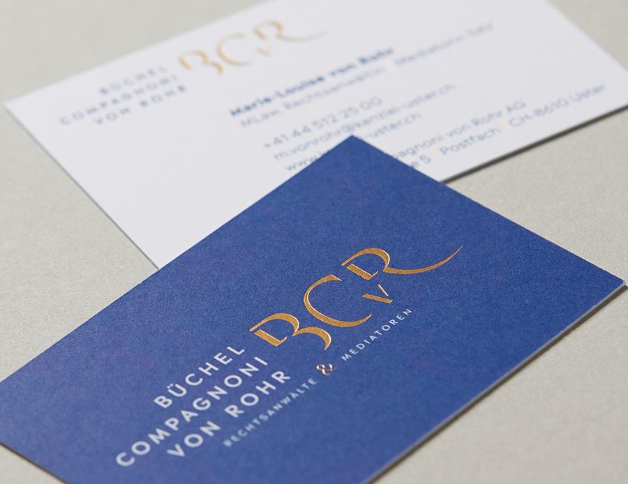 Hochwertige Visitenkarten für Anwaltskanzlei Zürich - by 8chDesign - Schweizer Agentur für Grafikdesign
