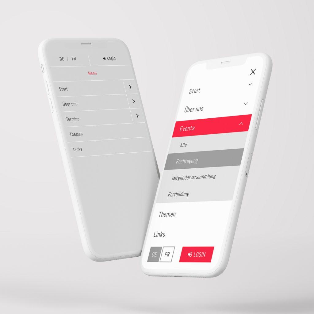 Webseite Redesign – Neugestaltung Mobile Menü. By 8chDesign - Schweizer Agentur für Webdesign